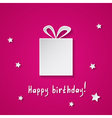 pink birthday card with a gift box vector image vector image