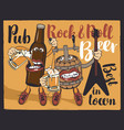 Rock-n-roll pub banner with beer bottle and barrel