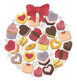 romantic ball is made of different desserts cakes vector image vector image