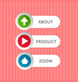 round buttons with arrow symbols and text vector image