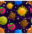 Seamless pattern with fantazy cartoon planet vector image