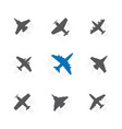 set different airplane with trace symbols vector image
