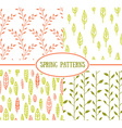 Set of four seamless patterns with spring Leaf It vector image vector image