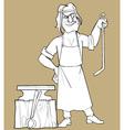 sketch cartoon fabulous man blacksmith vector image vector image