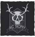 skull with deer horns t-shirt label design vector image vector image