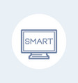 smart tv line icon on white vector image vector image