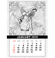 snowman in doodle style calendar january 2019 vector image