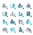 stylized business management and hierarchy icons vector image vector image