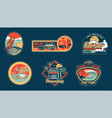 surfing set prints stickers patches posters vector image vector image