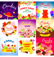 sweet candy banner set cartoon style vector image