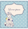 Vintage background with banner and baby boy vector image vector image