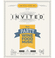 Vintage party invitation card template vector image