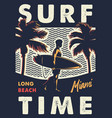 vintage surf time colorful emblem vector image vector image