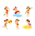 women in swimsuit summer activity on beach vector image vector image
