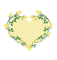 Yellow Roses Flowers in A Heart Shape vector image vector image
