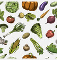 seamless pattern with sketch of vegetables and vector image