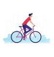 a young man cycling around vector image vector image