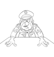 Angry military general vector image vector image