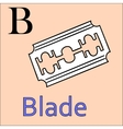 B letter alphabet Coloring book blade vector image vector image