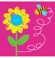 Bee and flower greeting baby card vector image vector image