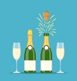 champagne bottles and glasses vector image vector image