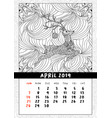 christmas deer calendar calendar april 2019 year vector image