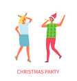 christmas party two business managers dancing vector image vector image