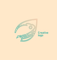 Creative emblem in a linear style the chameleon vector image vector image