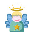cute angel with wings and aureole design vector image
