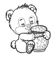 cute little bear sitting and hugging a big jar of vector image vector image