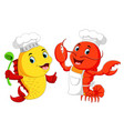 cute lobster chef and fish chef cartoon vector image