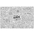 doodle cartoon set marine theme items vector image
