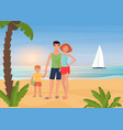 family happy people enjoy tropical island paradise vector image vector image