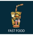 Fast food decoration emblem in shape of drink cup vector image vector image