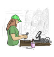 female cashier counting money in her office vector image