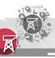 Hand drawn crane icons with icons background vector image vector image