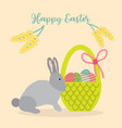 happy easter greeting card with eggs basket and vector image