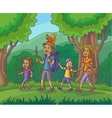 Happy family is hiking in the forest vector image vector image