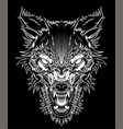 head ferocious wolf outline silhouette on a black vector image vector image