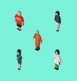 isometric people set of girl doctor cleaner and vector image vector image