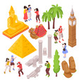 isometric travel attractions set vector image vector image