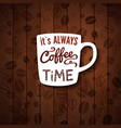 it is always coffee time poster with coffee cups