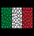 italy flag pattern of map pointer icons vector image