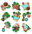 landscape compositions top view set vector image vector image