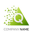letter q logo symbol in colorful triangle vector image vector image