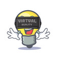 light bulb character cartoon with virtual reality vector image vector image