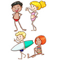 Plain drawings of the people at the beach vector image vector image
