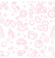 seamless linear pattern baby accessories vector image vector image