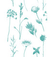 seamless pattern with dry flowers and grass hand vector image