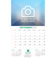 september 2018 wall monthly calendar for 2018 vector image vector image